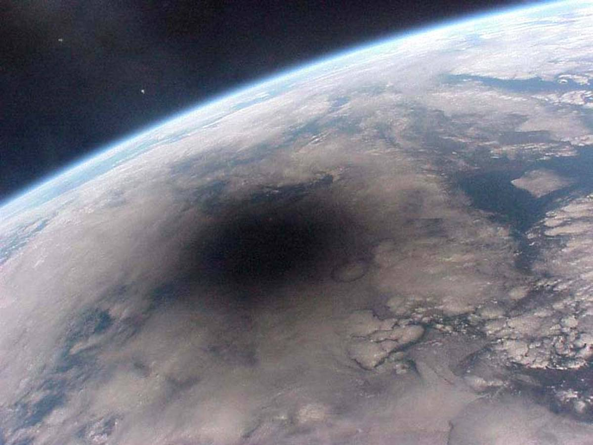 A solar eclipse, from space