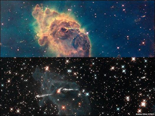 Dos imágenes de la nebulosa Carina