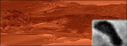 Imágen artística del lago Ontario en Titan frente a imagen tomada por la Cassini