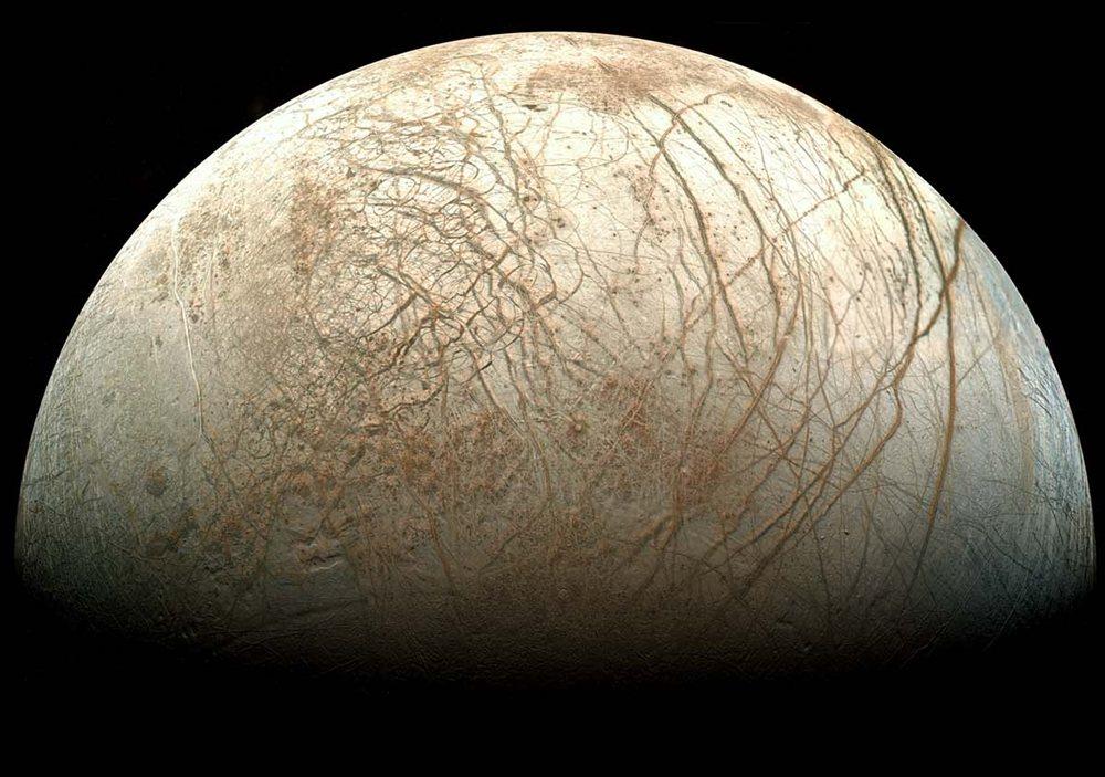 Europa vista desde la sonda Galileo