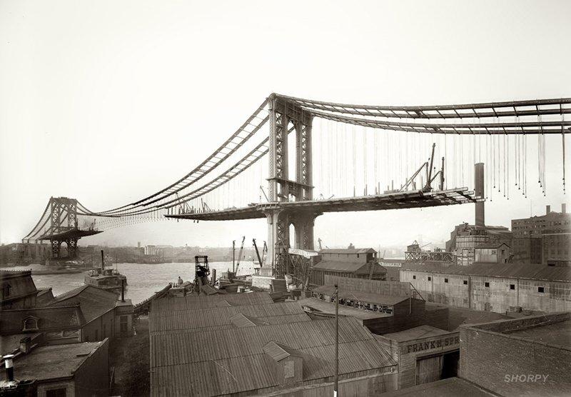 Construcción del puente de Manhattan