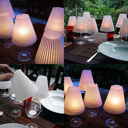 Lámparas con copas de vino